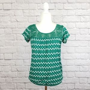 Lucky Brand green and white geometric print top